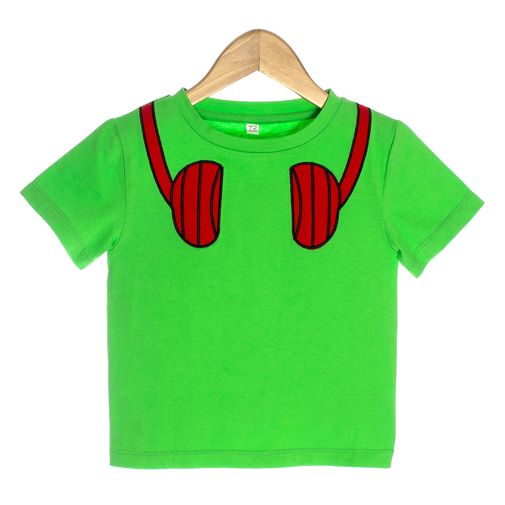 Kelly Green Organic Baby T-shirt with Red Headphones - OMG