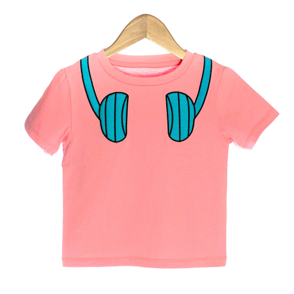 Pink Organic Baby T-shirt with Blue Headphones - OMG