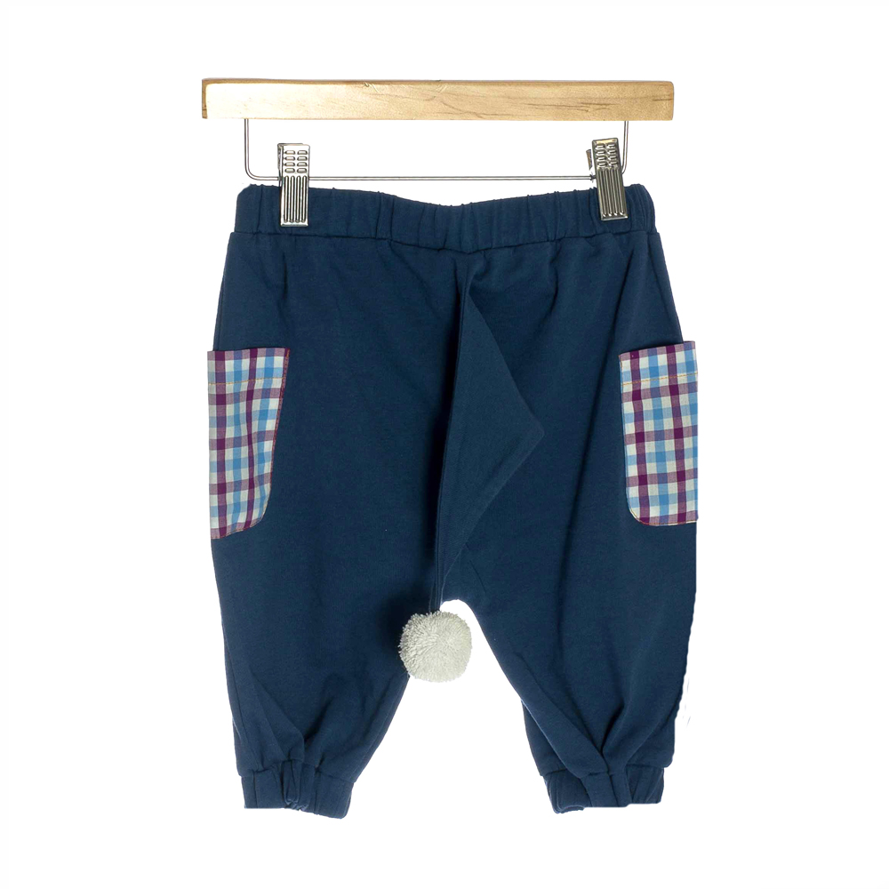 OMG Organic Cotton Children's Shorts | Blue Pom Pom Tail