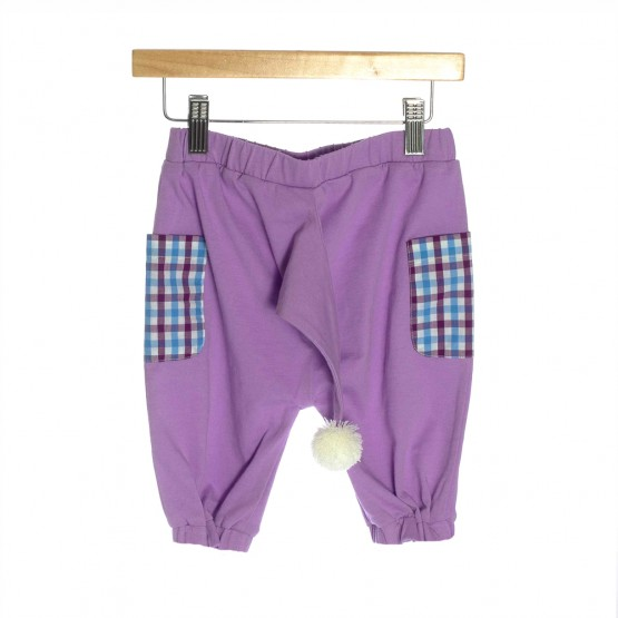 OMG Organic Cotton Children's Shorts | Purple Pom Pom Tail