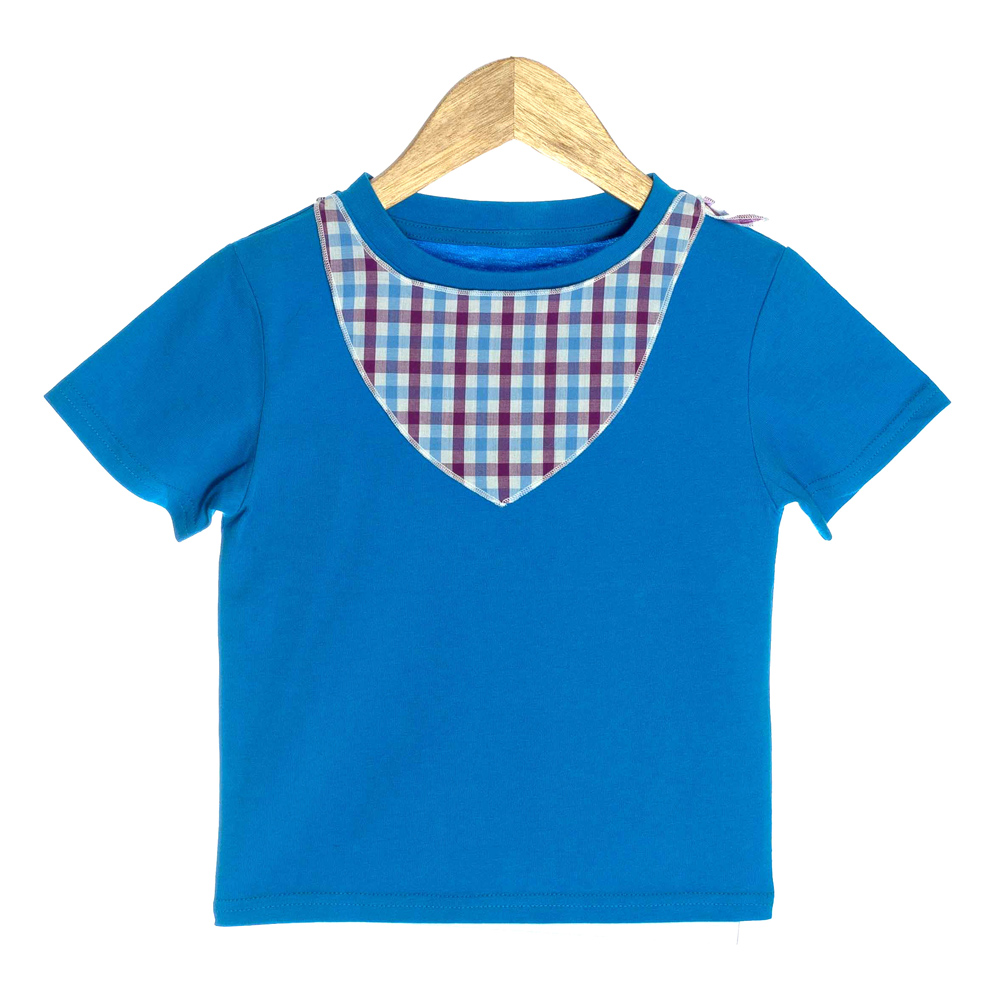 Blue Organic Baby T-shirt with 3D Plaid Scarf - OMG