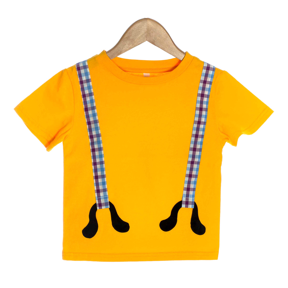 Orange Organic Baby T-shirt with 3D Plaid Suspenders - OMG