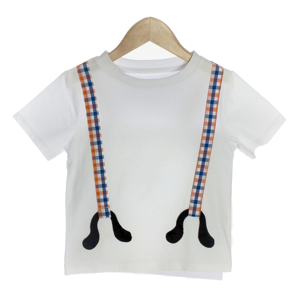White Organic Baby T-shirt with 3D Plaid Suspenders - OMG