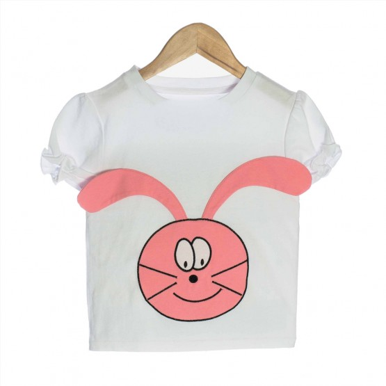 White Organic Baby T-shirt with Bunny - OMG