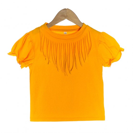 Orange Organic Baby T-shirt with Bohemian Fringe - OMG