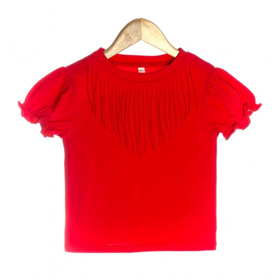 Red Organic Baby T-shirt with Bohemian Fringe - OMG