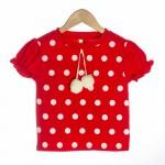 Red Organic Baby T-shirt with Polka Dot Poms - OMG
