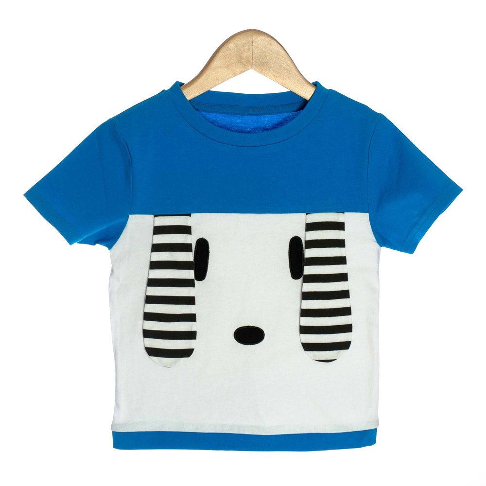 Blue Organic Baby T-shirt with 3D Puppy Ears - OMG