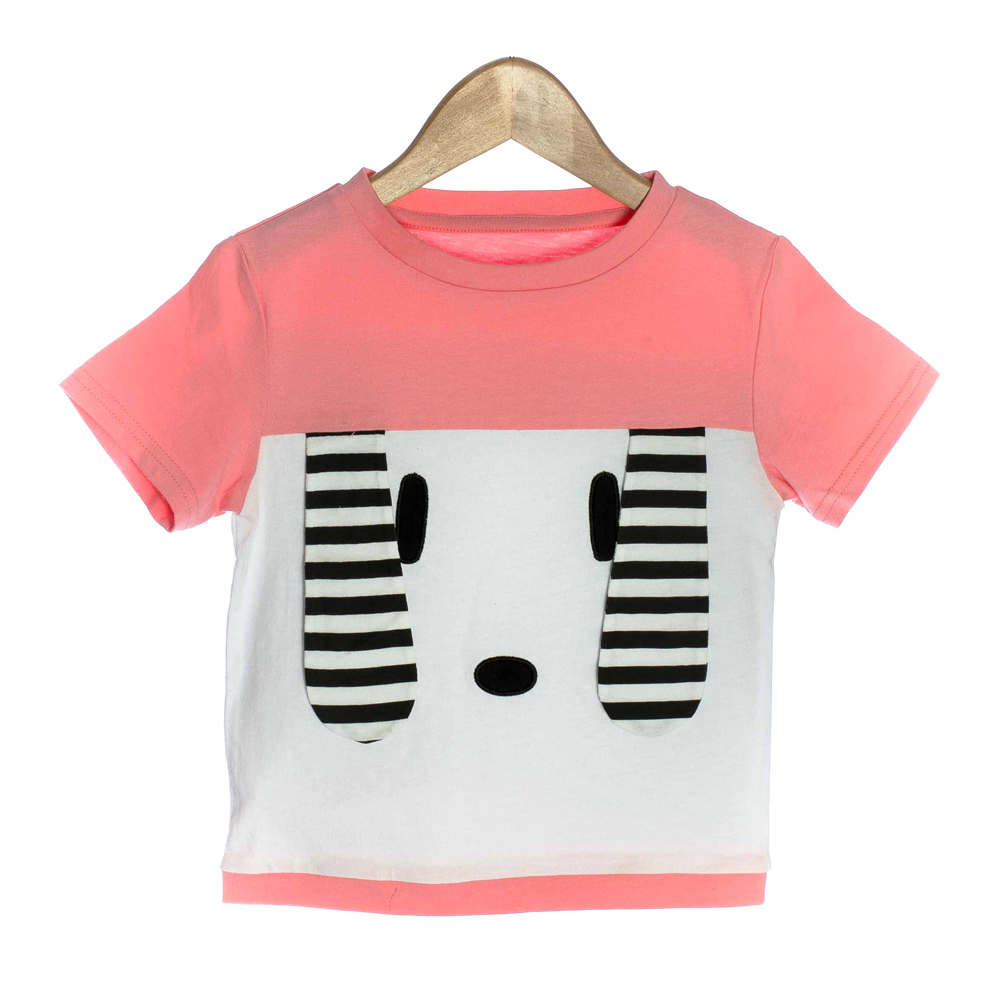 Pink Organic Baby T-shirt with 3D Puppy Ears - OMG