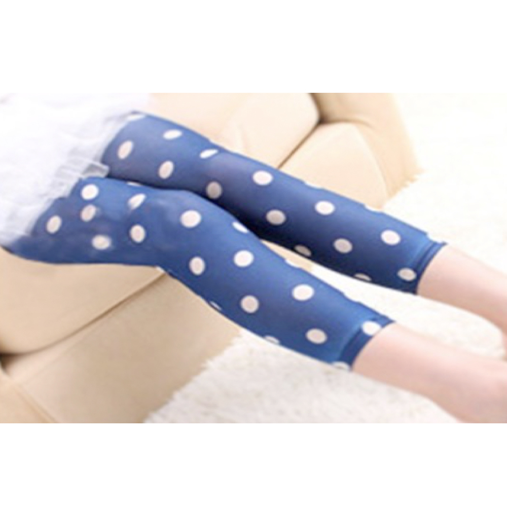 OMG Toddler Nylon Leggings | Blue + White Polka Dots